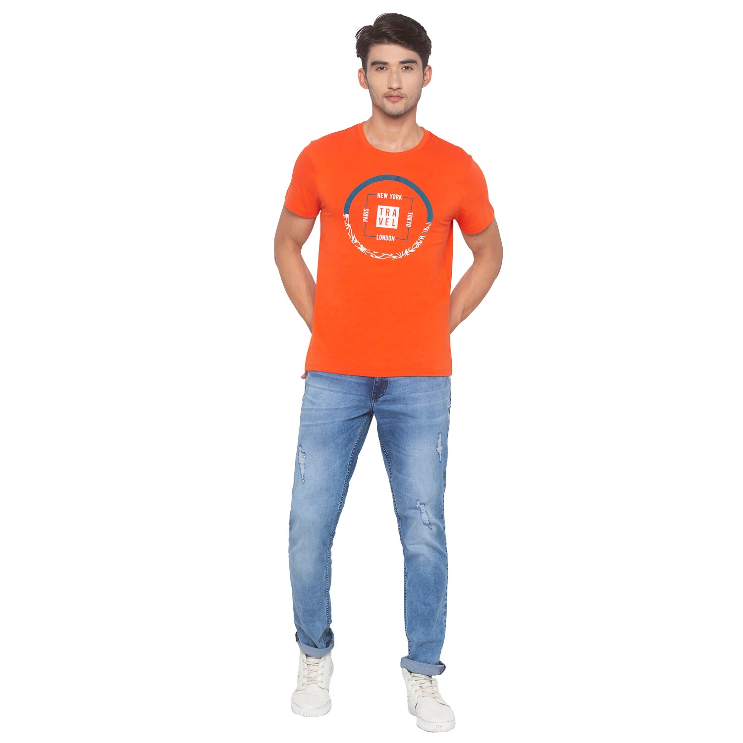 Orange Printed T-Shirt-4