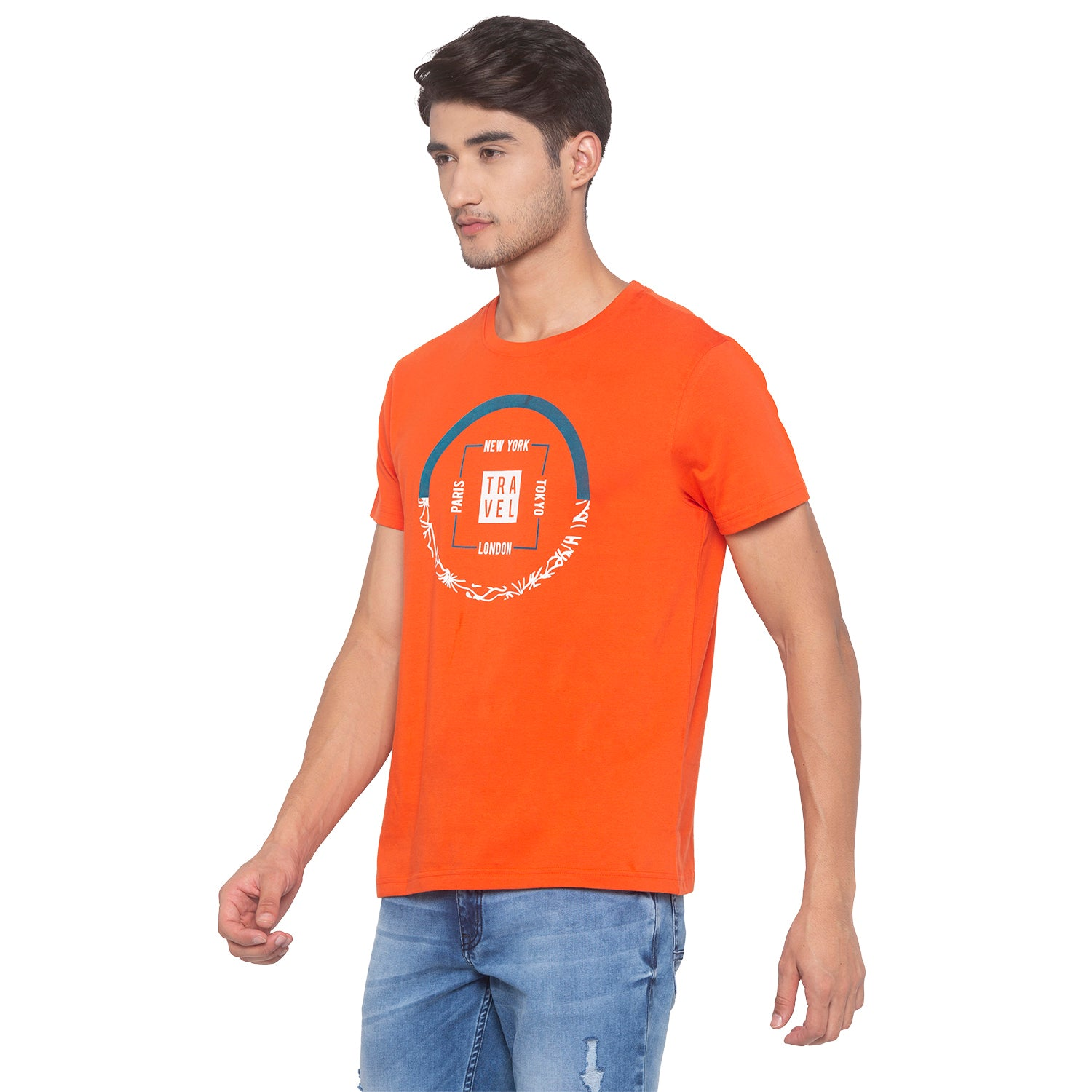 Orange Printed T-Shirt-2