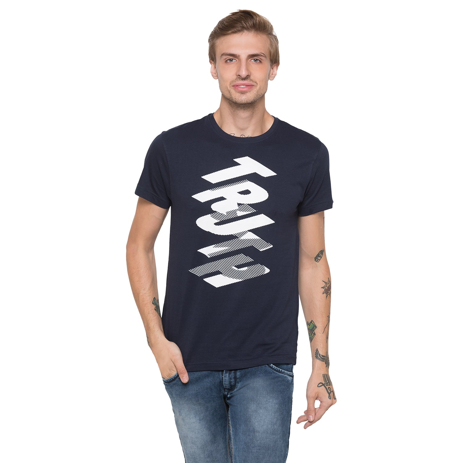 Globus Navy Blue Printed T-Shirt-1