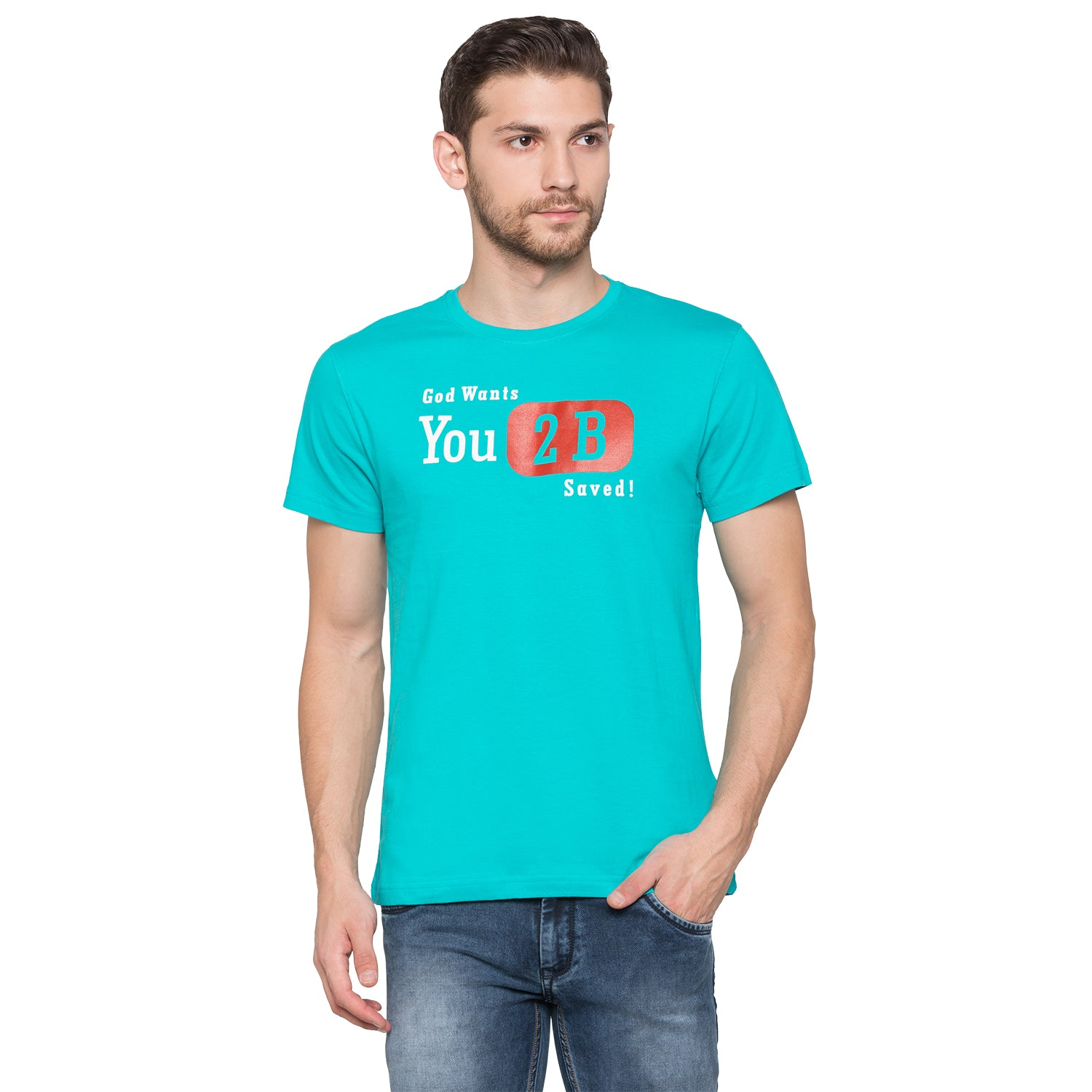 Globus Blue Typography T-Shirt1