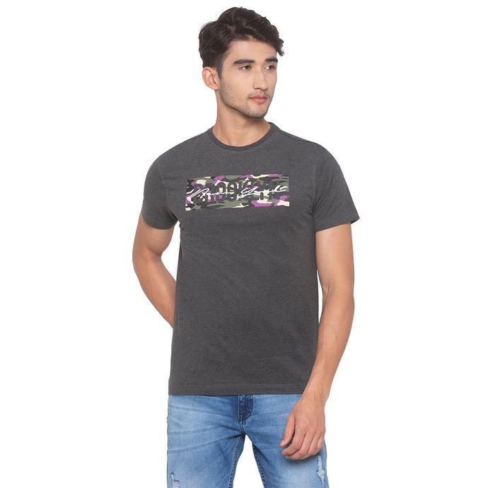 Anthra melange Printed T-Shirt-1