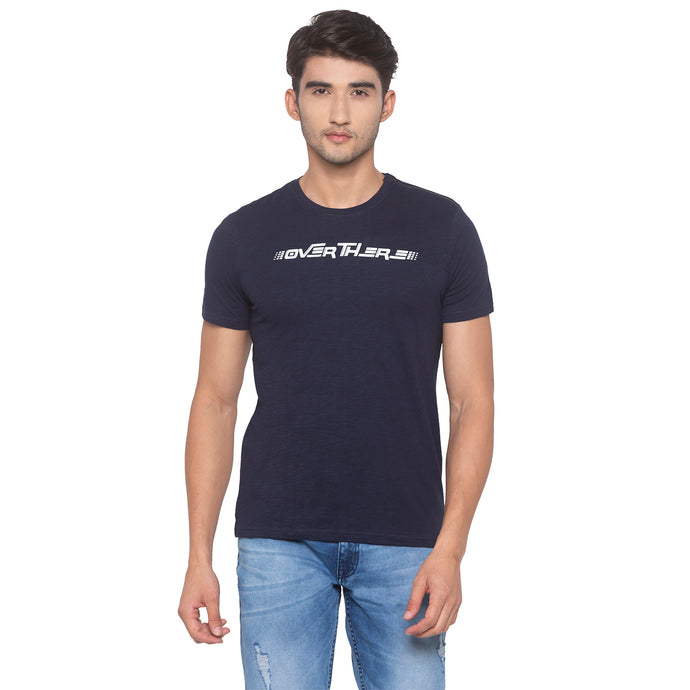 Navy Blue Printed T-Shirt-1