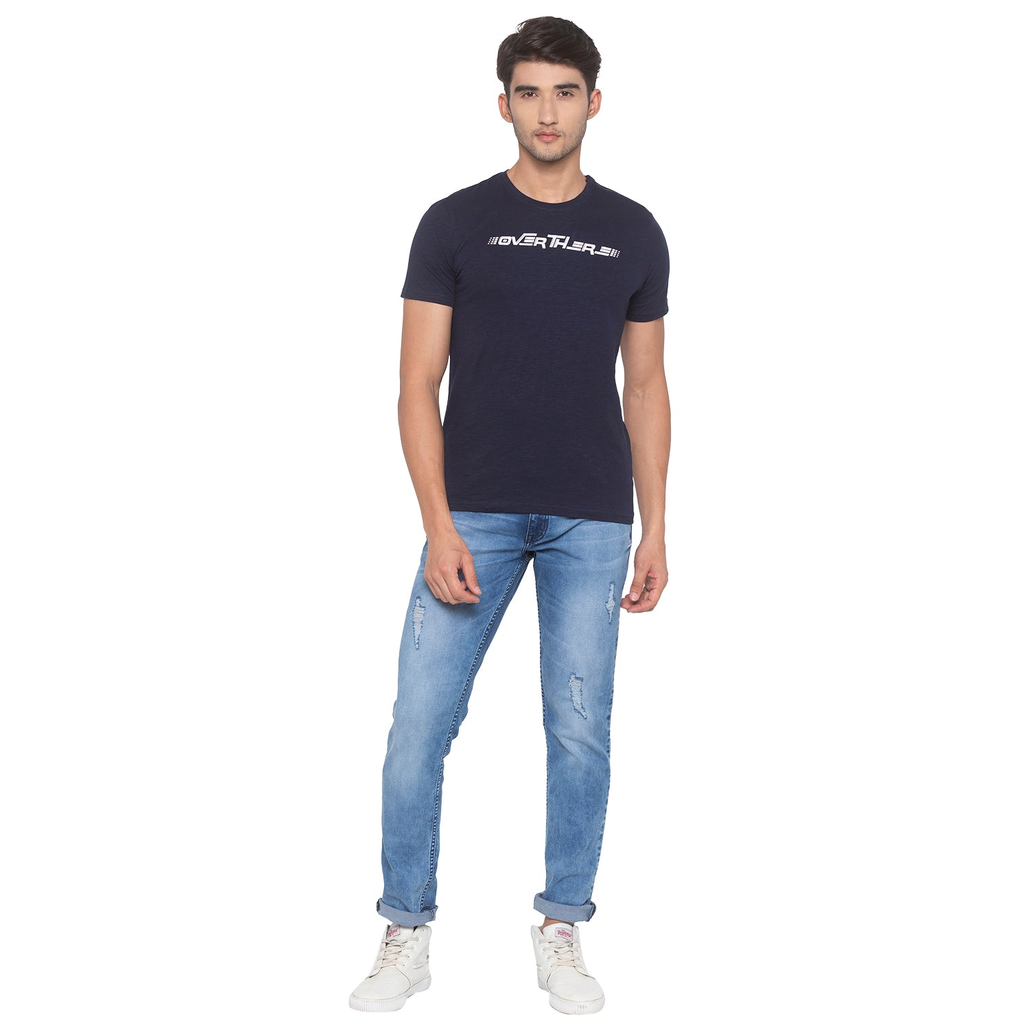 Navy Blue Printed T-Shirt-4