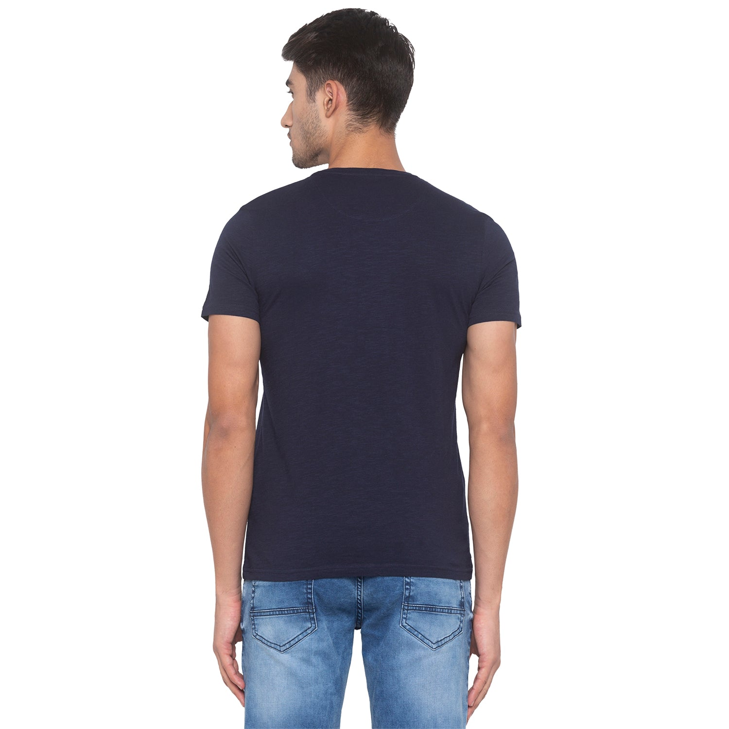 Navy Blue Printed T-Shirt-3