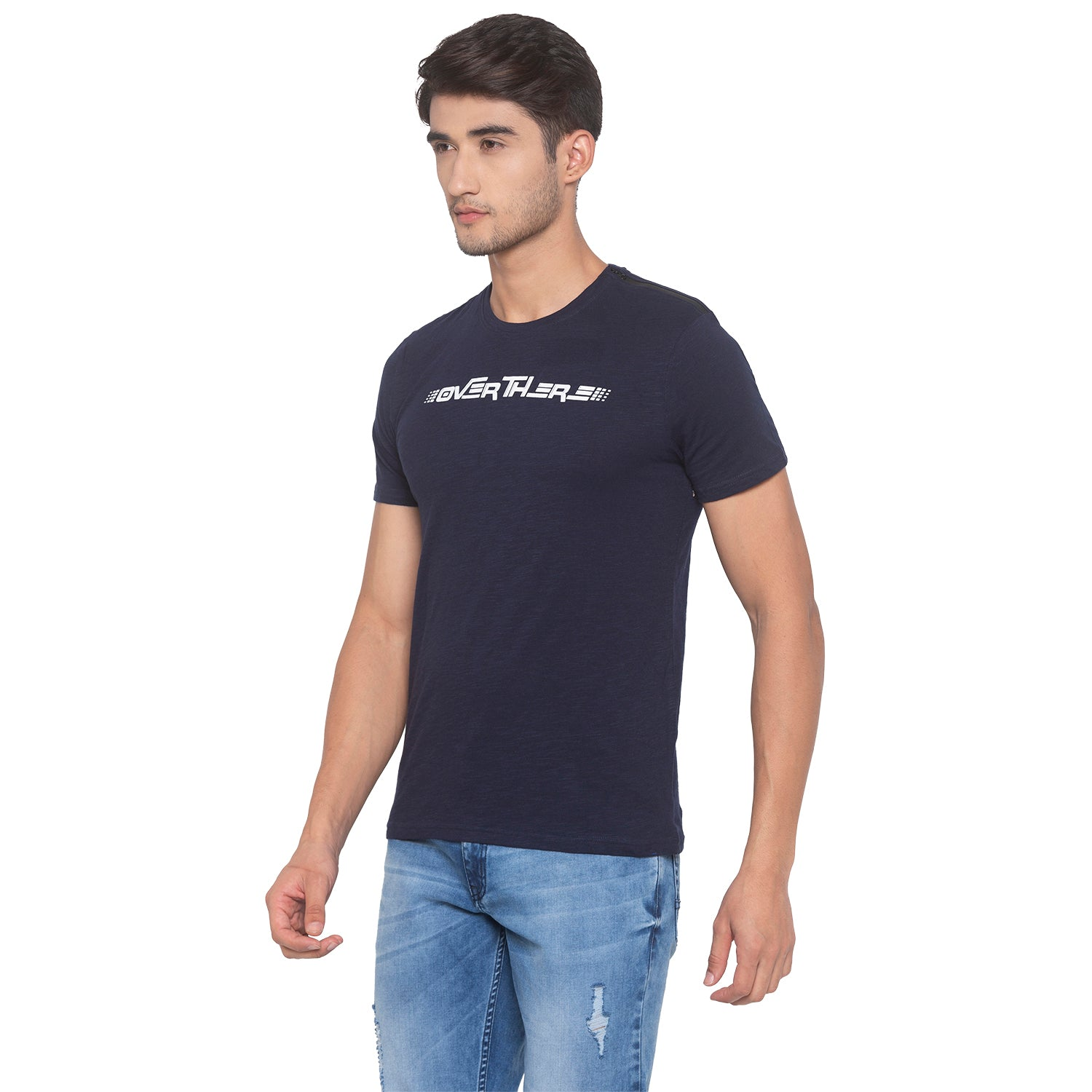 Navy Blue Printed T-Shirt-2