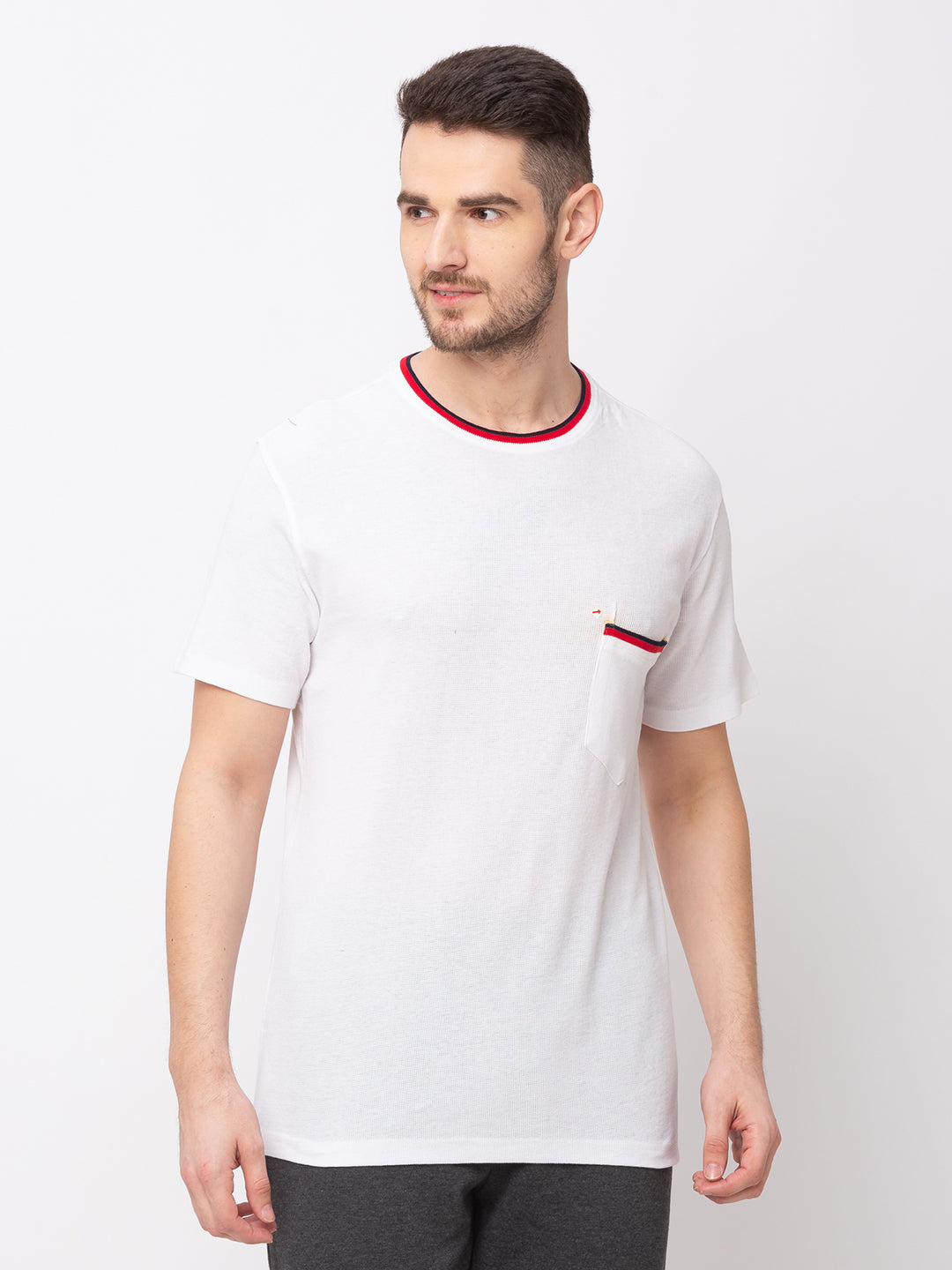 Globus White Solid T-Shirt-1