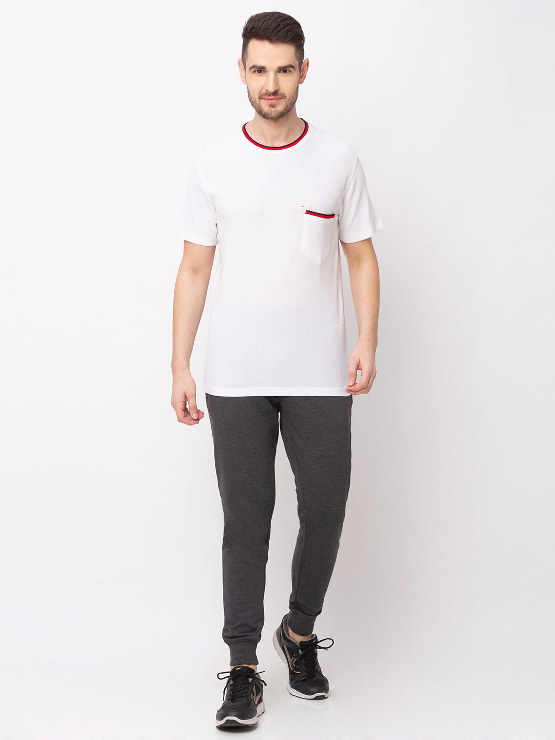 Globus White Solid T-Shirt-5