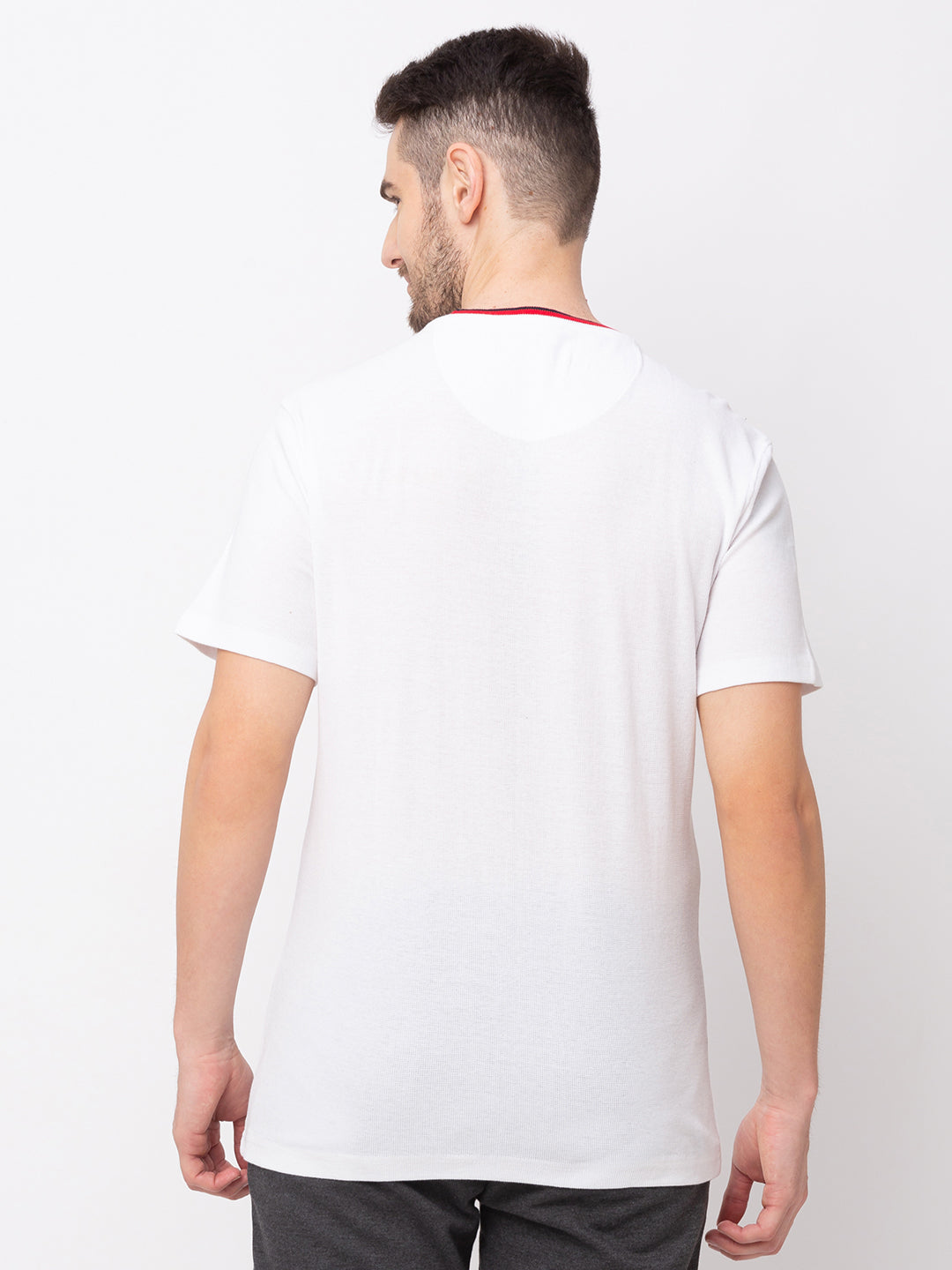 Globus White Solid T-Shirt-3