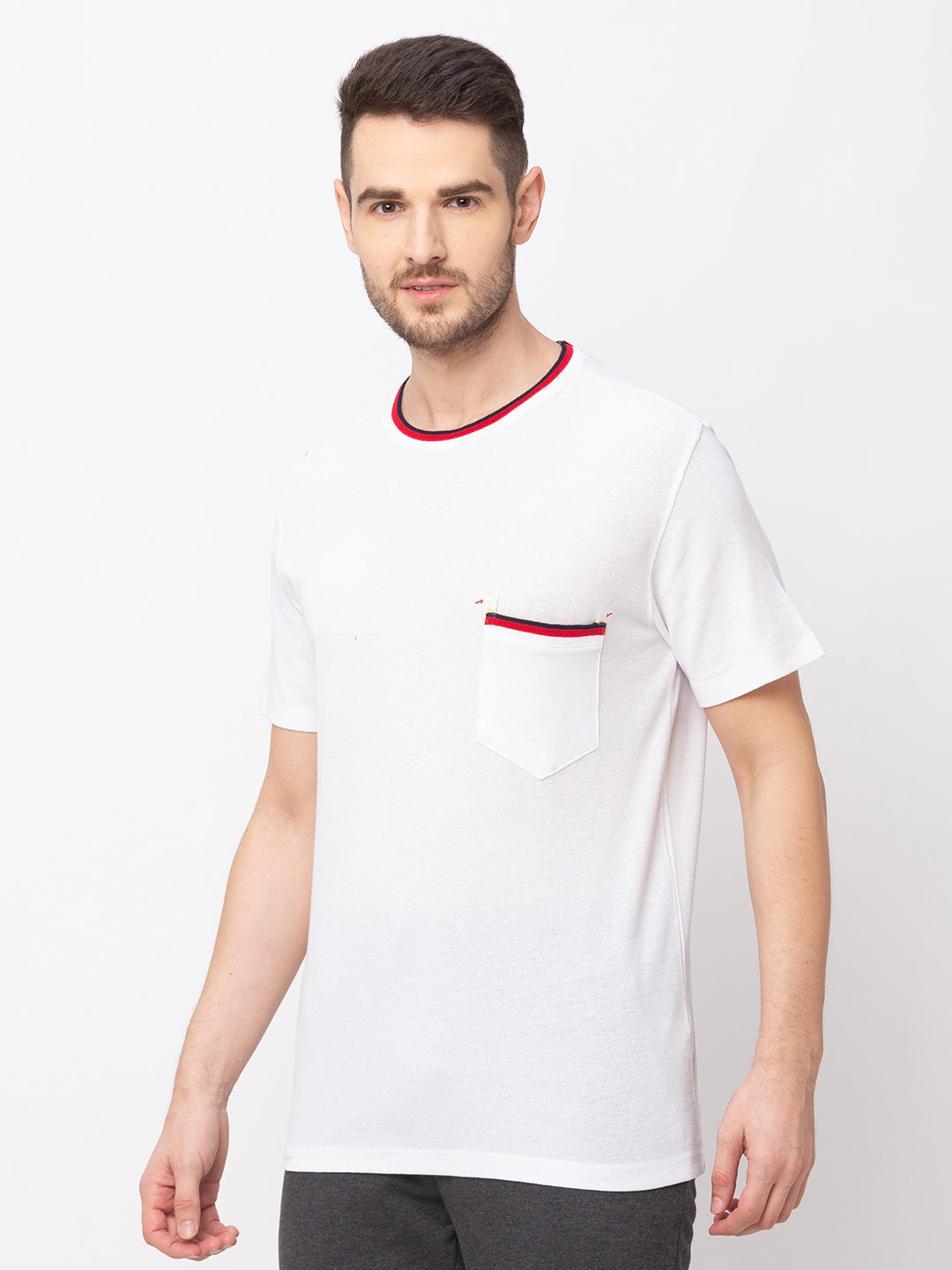 Globus White Solid T-Shirt-2