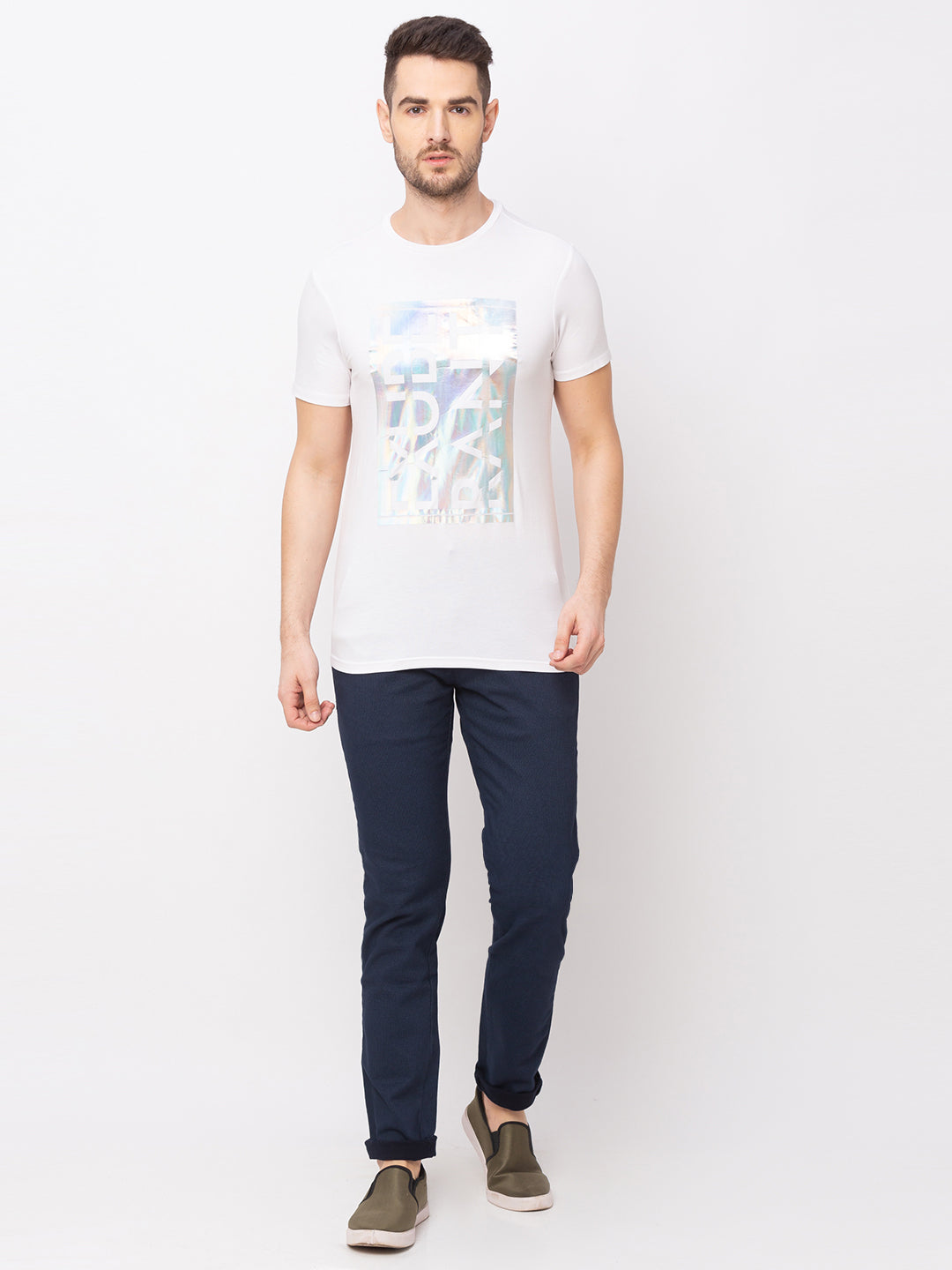 Globus White Printed T-Shirt-5