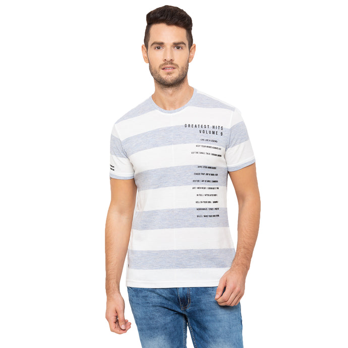 Globus White & Grey Striped T-Shirt-1