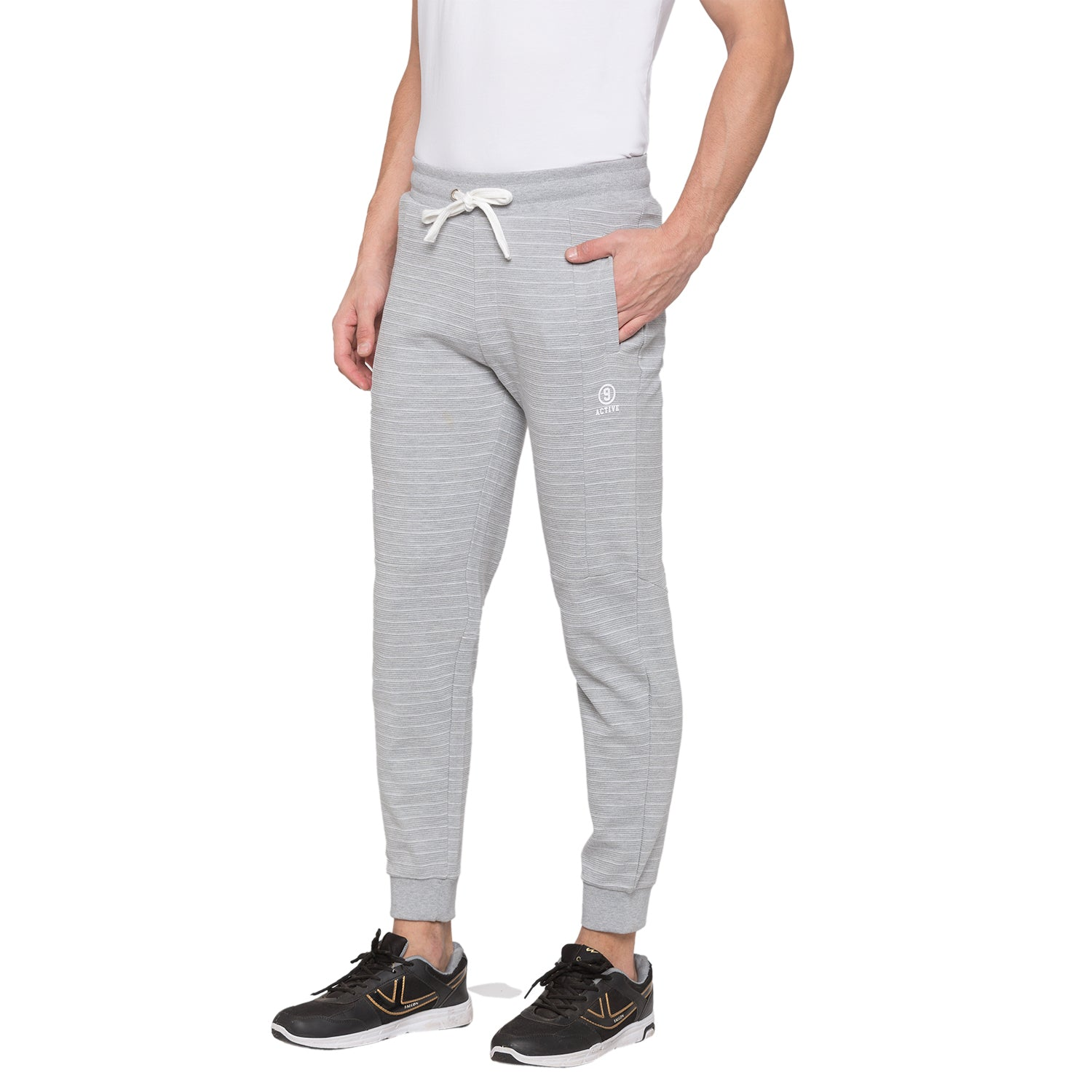 Globus Grey Melange Striped Joggers2