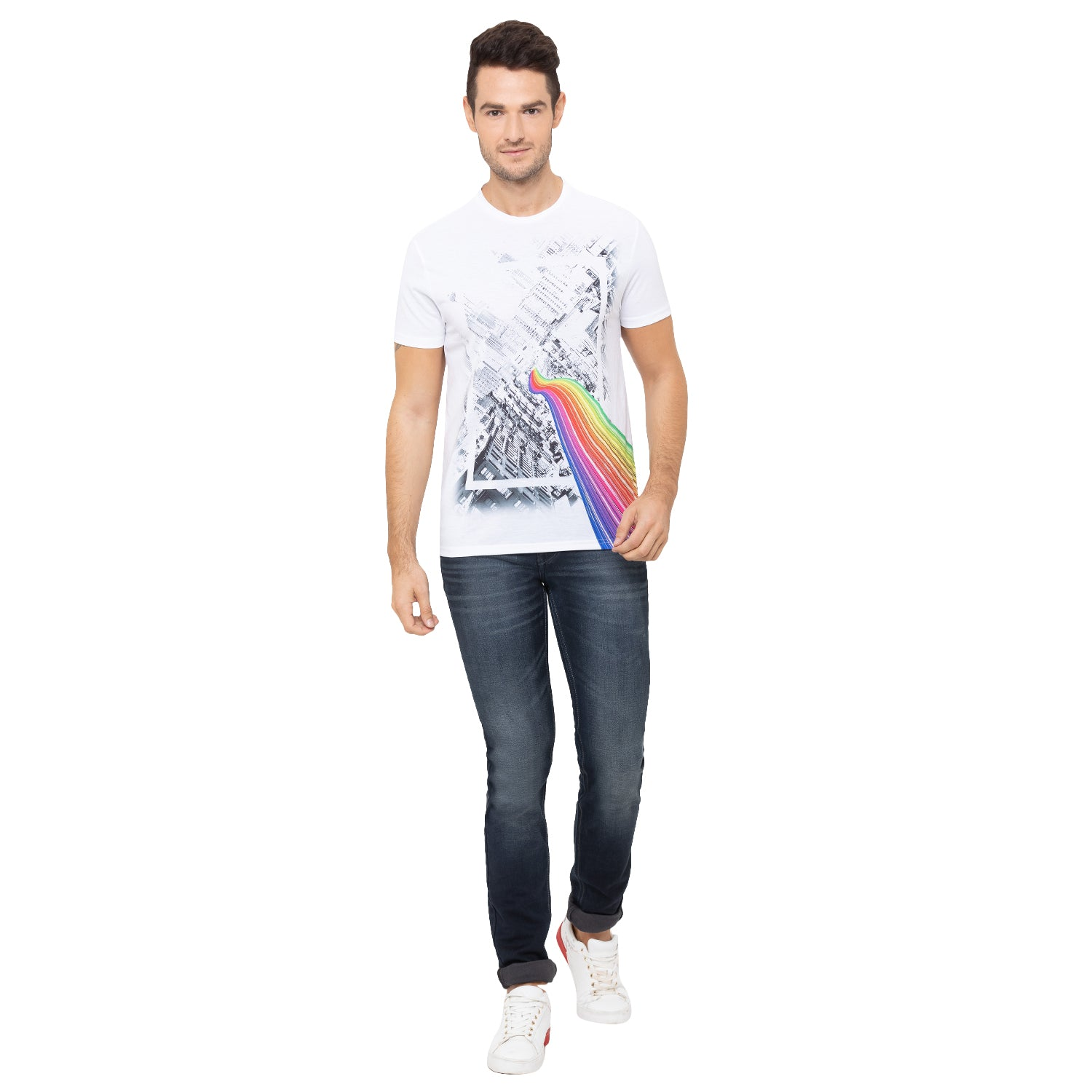 Globus White Printed T-Shirt-2