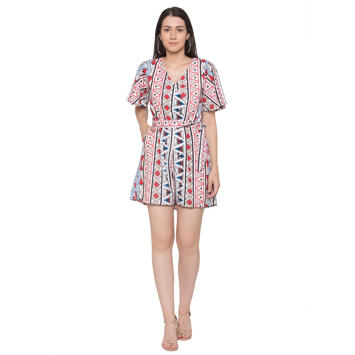Globus Off White Printed Playsuit-1