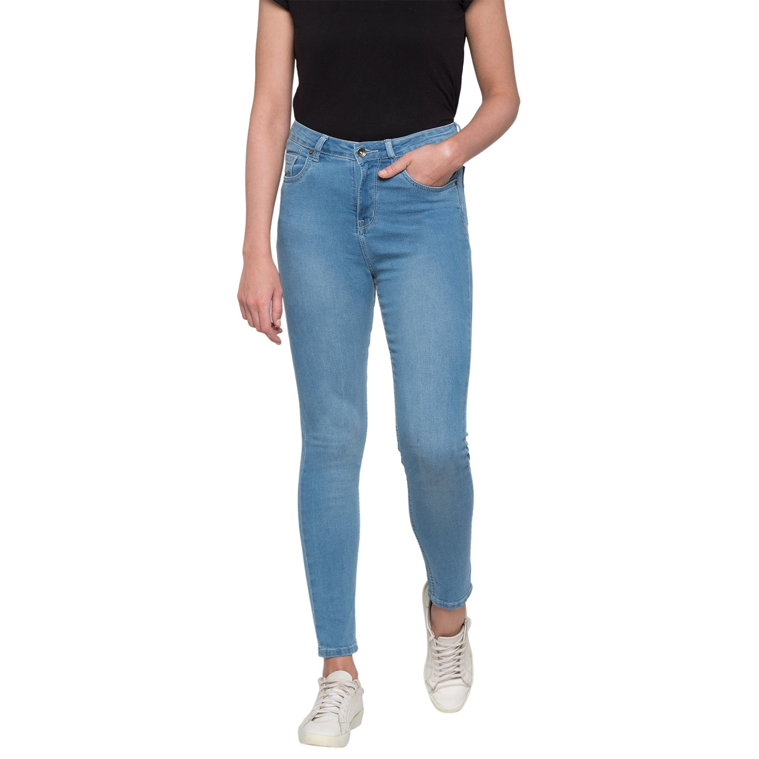Blue Solid High-Rise Jeans-1