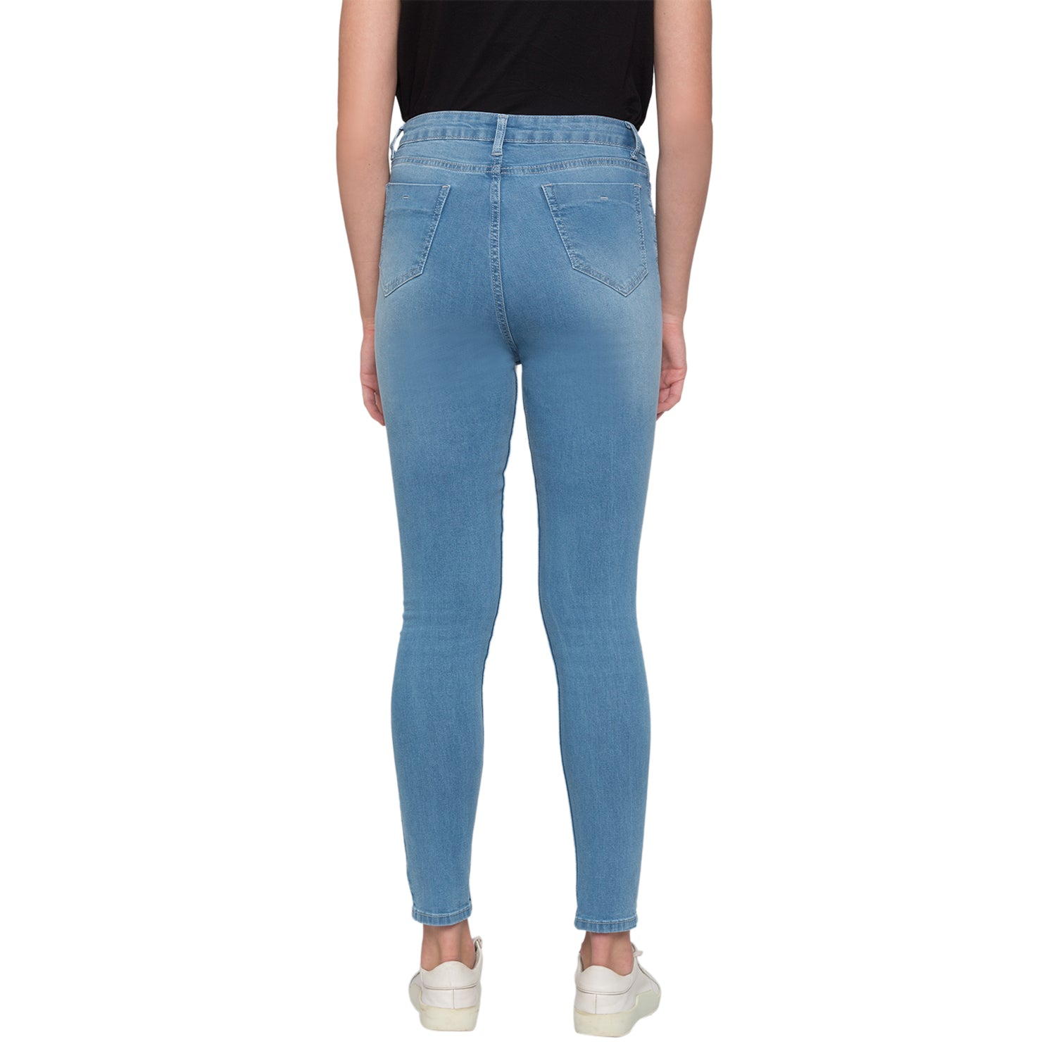 Blue Solid High-Rise Jeans-3