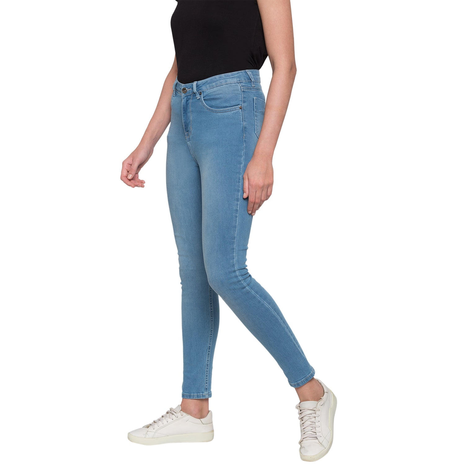 Blue Solid High-Rise Jeans-4