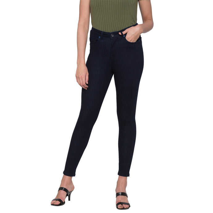 Navy Solid High-Rise Jeans-1