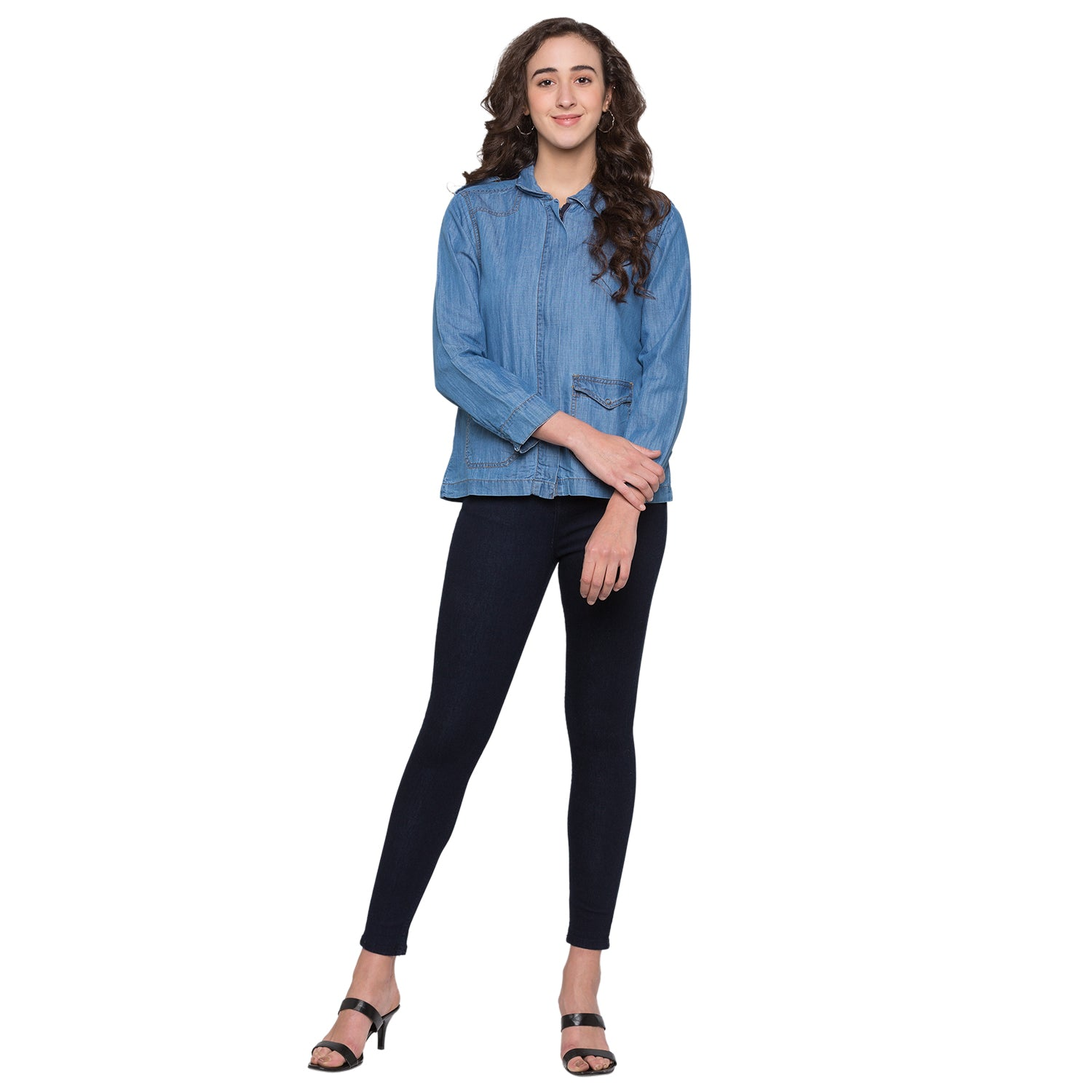 Navy Solid High-Rise Jeans-2