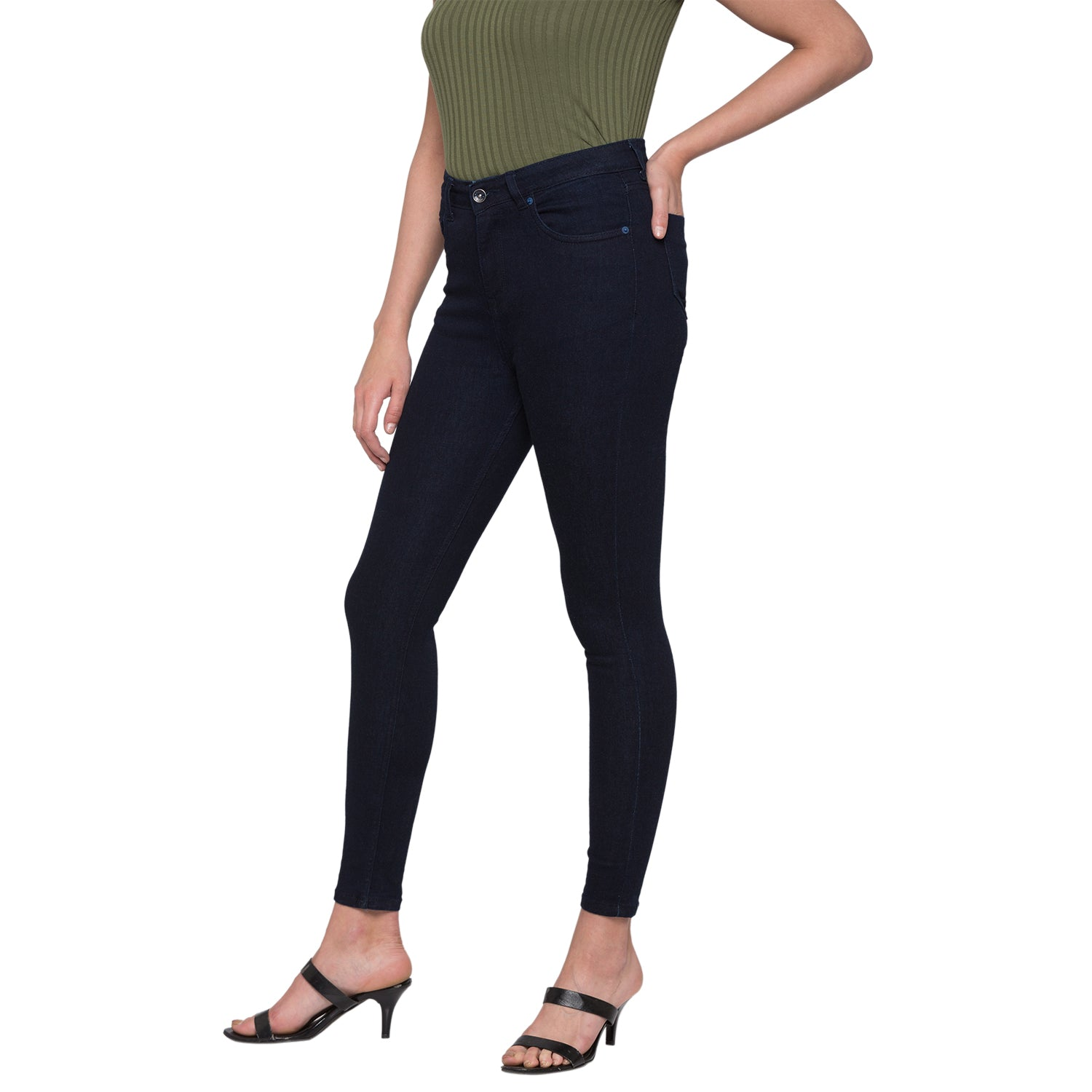 Navy Solid High-Rise Jeans-4
