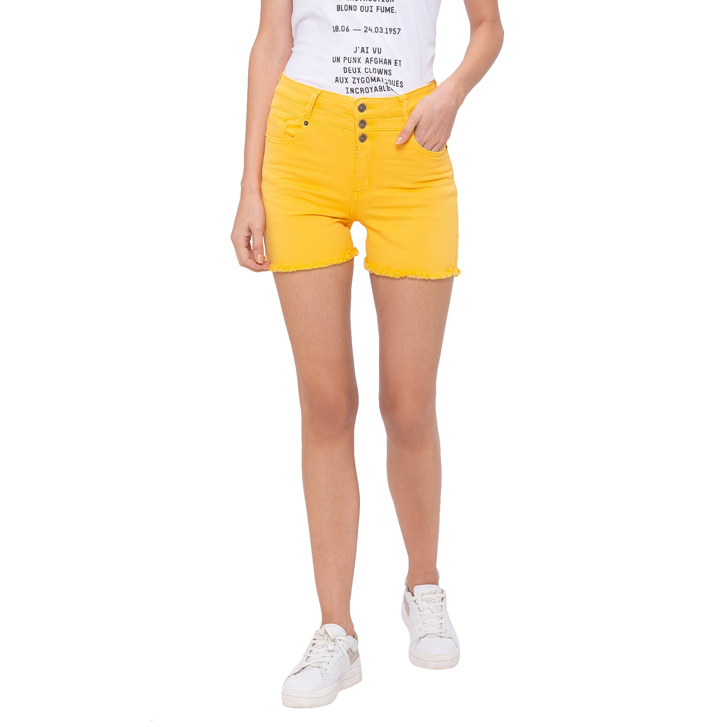 Globus Yellow Solid Shorts-1