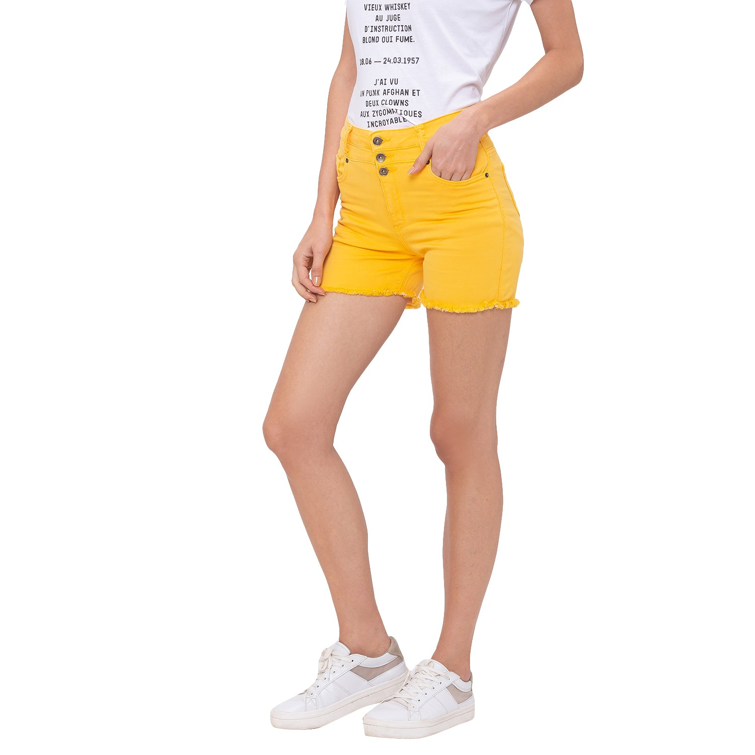 Globus Yellow Solid Shorts-2