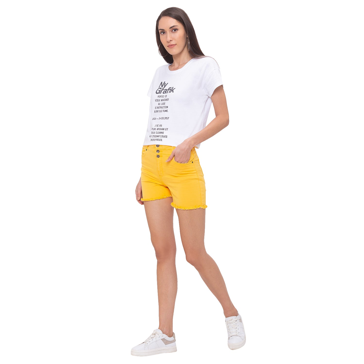 Globus Yellow Solid Shorts-6
