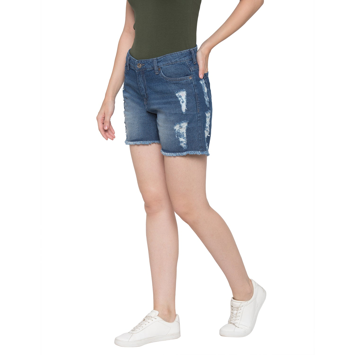 Globus Blue Washed Distressed Shorts-2