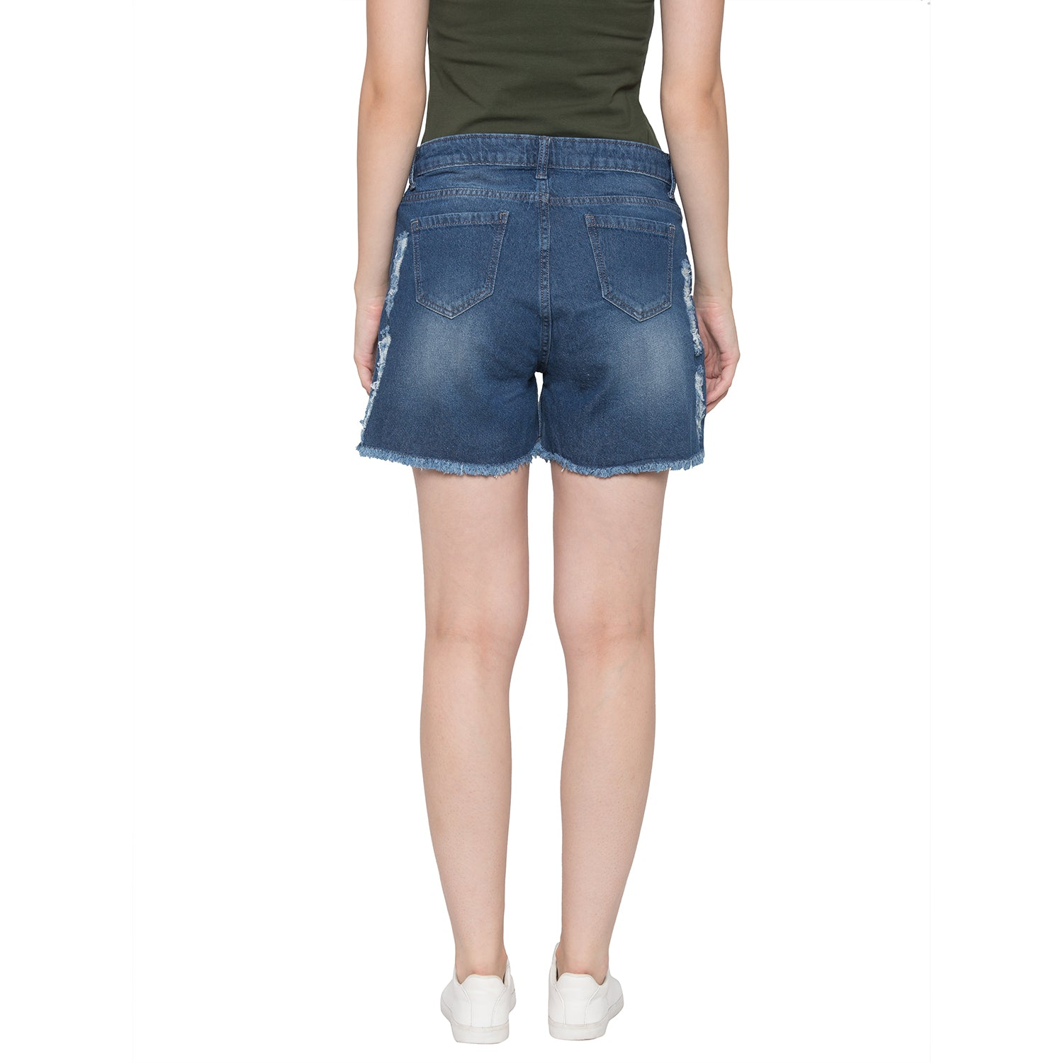 Globus Blue Washed Distressed Shorts-3
