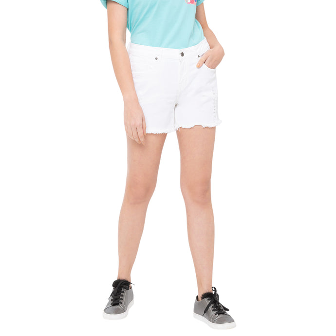 Globus White Solid Shorts-1