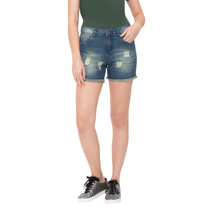 Globus Blue Washed Shorts-1