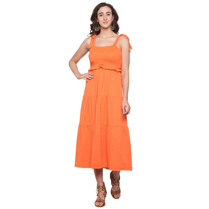 Globus Orange Solid Dress1
