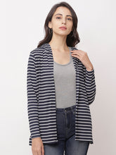 Load image into Gallery viewer, Globus Navy Blue  Striped Shrug-1