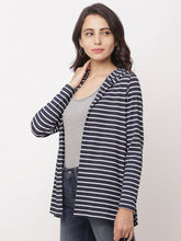 Load image into Gallery viewer, Globus Navy Blue  Striped Shrug-2