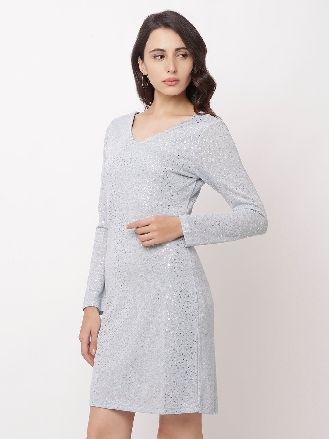 Globus Grey Embellished Casual Dress-4