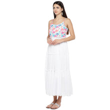 Load image into Gallery viewer, White Printed Fit and Flare Dress-2