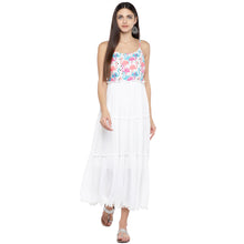 Load image into Gallery viewer, White Printed Fit and Flare Dress-4
