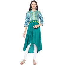 Load image into Gallery viewer, Teal Green Printed A-Line Kurta-1