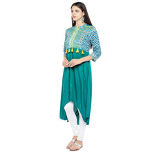 Load image into Gallery viewer, Teal Green Printed A-Line Kurta-2