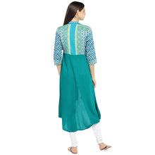 Load image into Gallery viewer, Teal Green Printed A-Line Kurta-3
