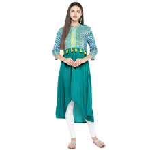 Load image into Gallery viewer, Teal Green Printed A-Line Kurta-4