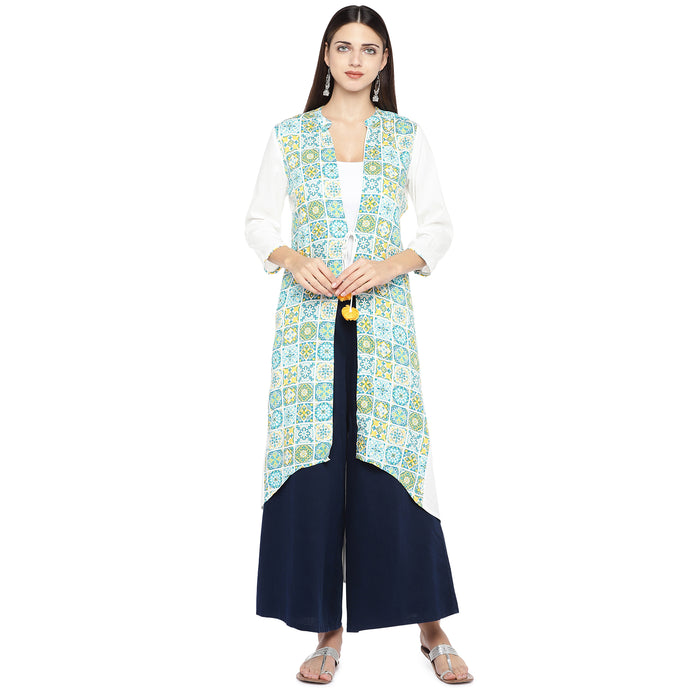 White & Green Printed Tie-Up Shrug-1