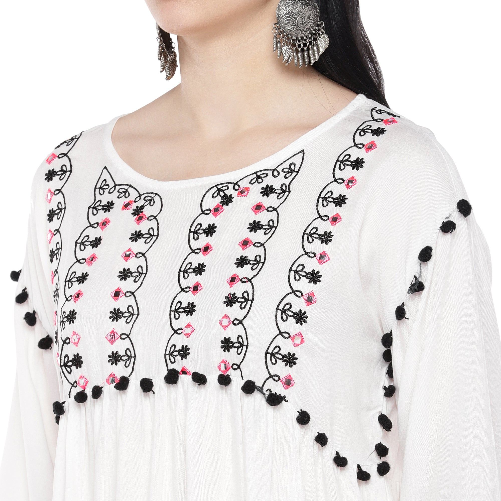 White Embellished Top-5