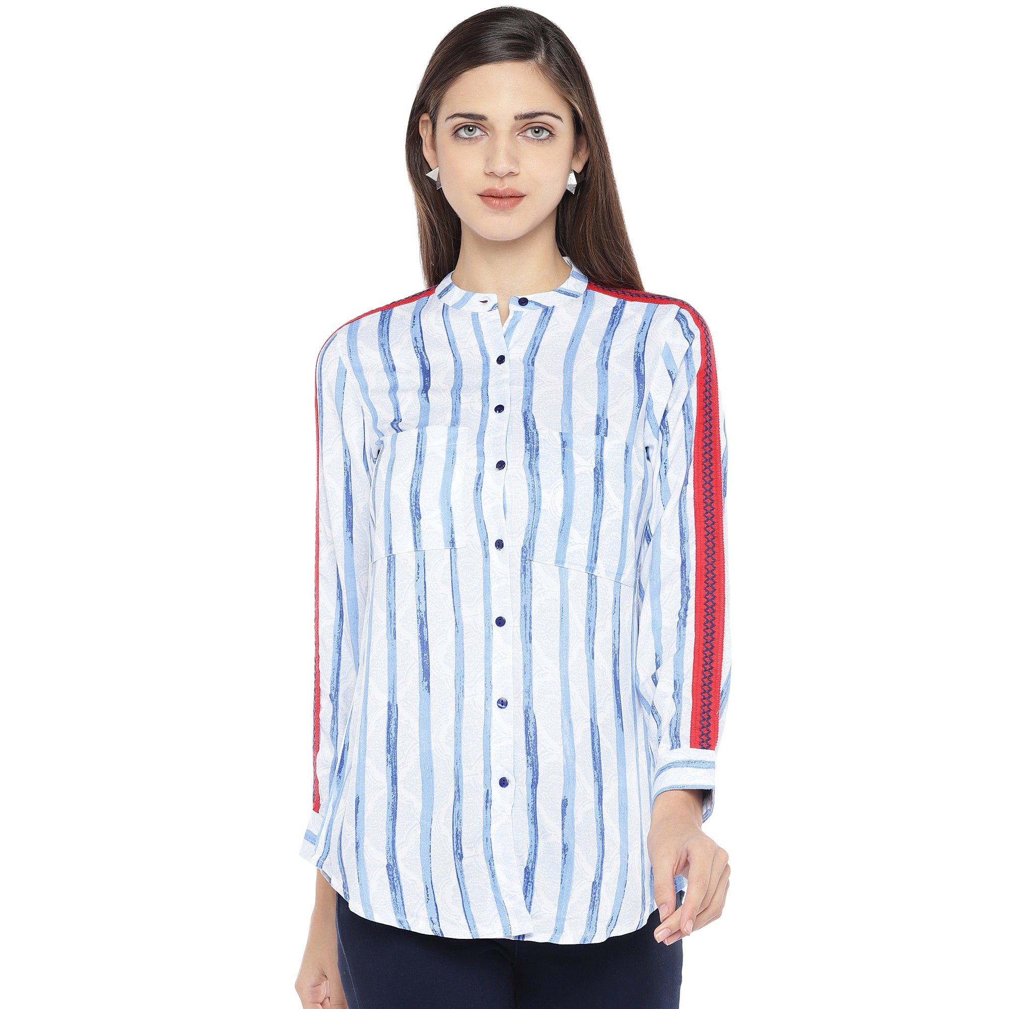 Blue & White Regular Fit Striped Casual Shirt-1