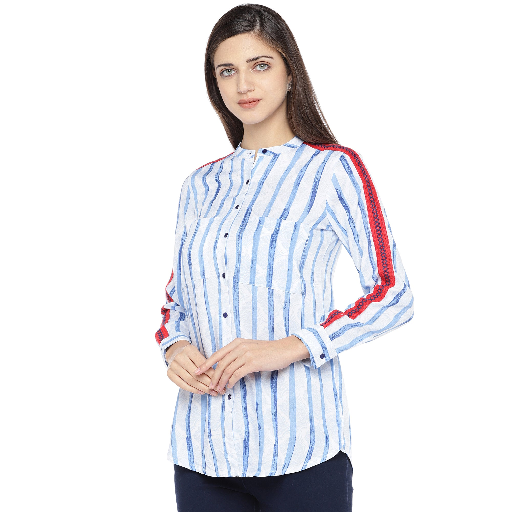 Blue & White Regular Fit Striped Casual Shirt-2