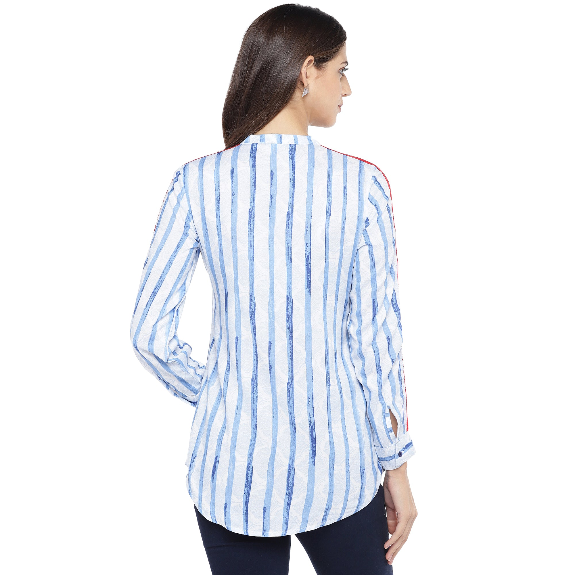 Blue & White Regular Fit Striped Casual Shirt-3