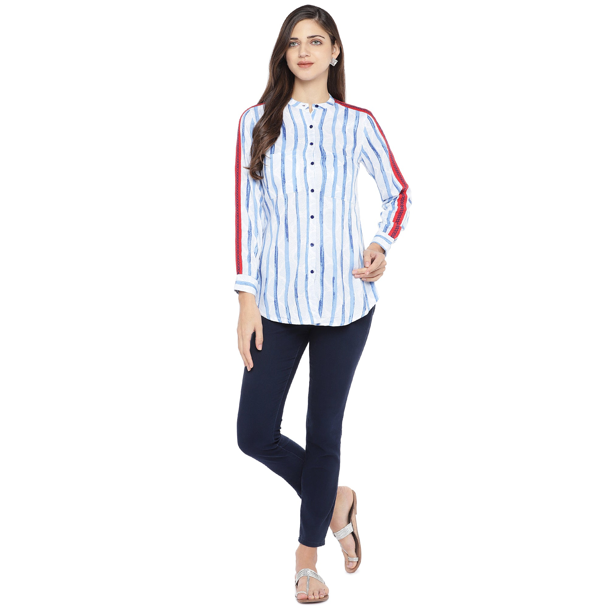 Blue & White Regular Fit Striped Casual Shirt-4