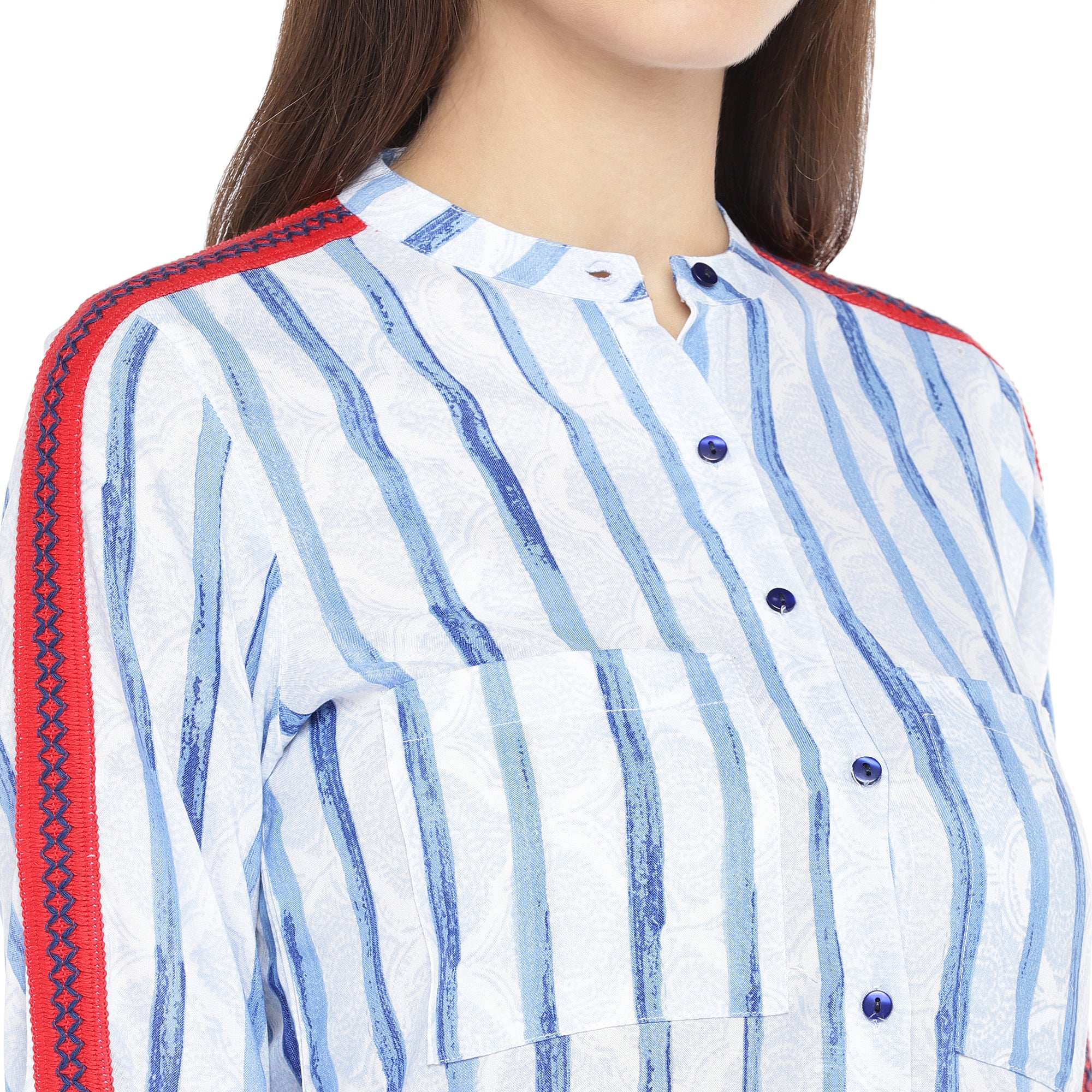Blue & White Regular Fit Striped Casual Shirt-5