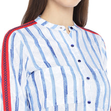 Load image into Gallery viewer, Blue & White Regular Fit Striped Casual Shirt-5