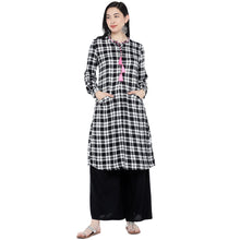 Load image into Gallery viewer, White & Black Checked Tunic-1